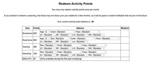Redeem Activity Points